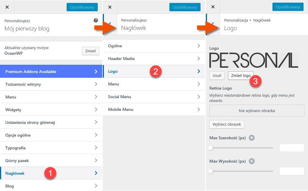 Na obrazku widać jak zmienić logo w systemie WordPress za pomocą edytora szablonów motywu OceanWP